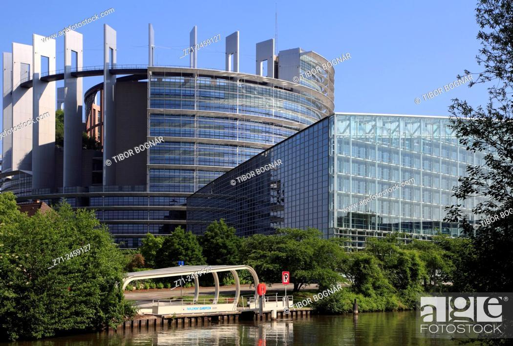 Stock Photo: France, Alsace, Strasbourg, European Parliament.