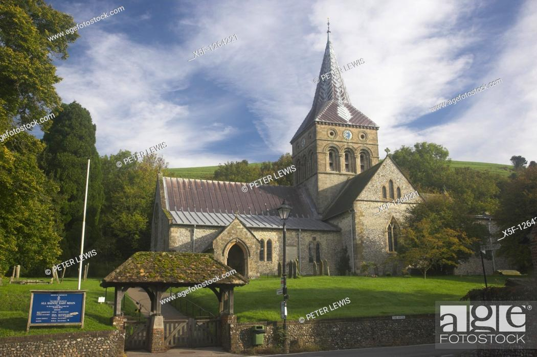 Stock Photo: All Saints Church East Meon part of the South Downs National Park Hampshire.