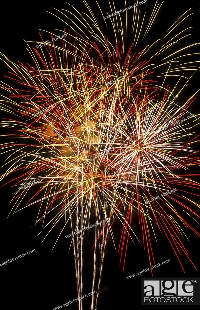 Stock Photo: Fourth of July in America, triple burst fireworks.