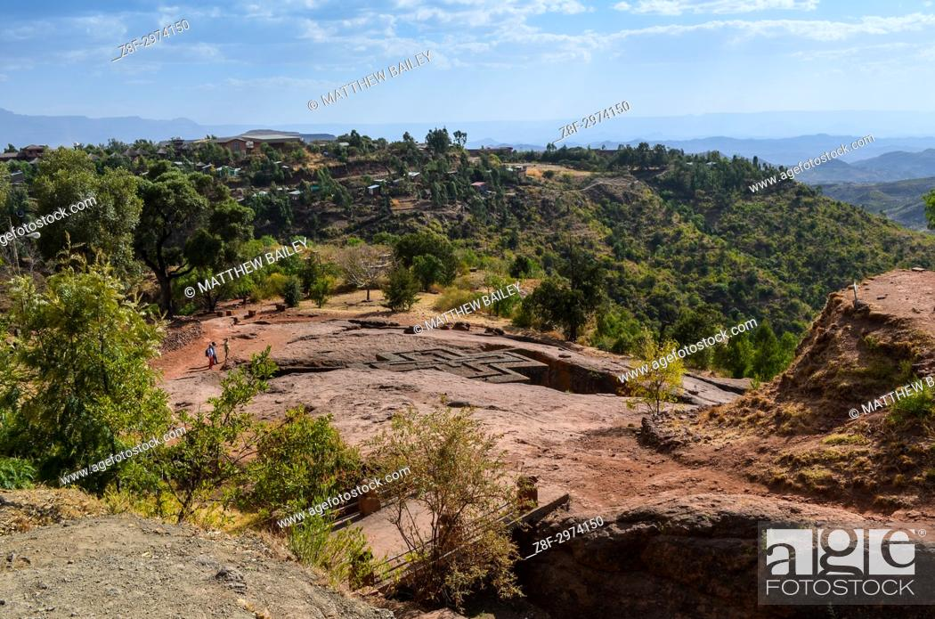 Photo de stock: Views of the ancient church of Saint George in Lalibela, Ethiopia.
