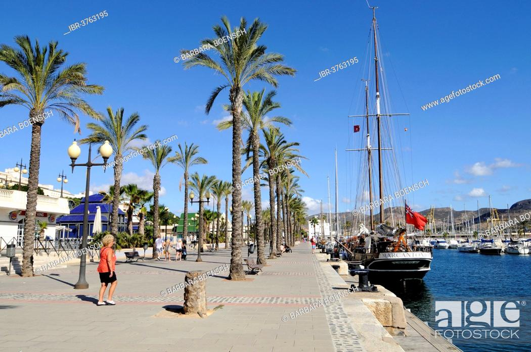 Stock Photo: Promenade, harbour, Cartagena, Murcia Region, Spain.