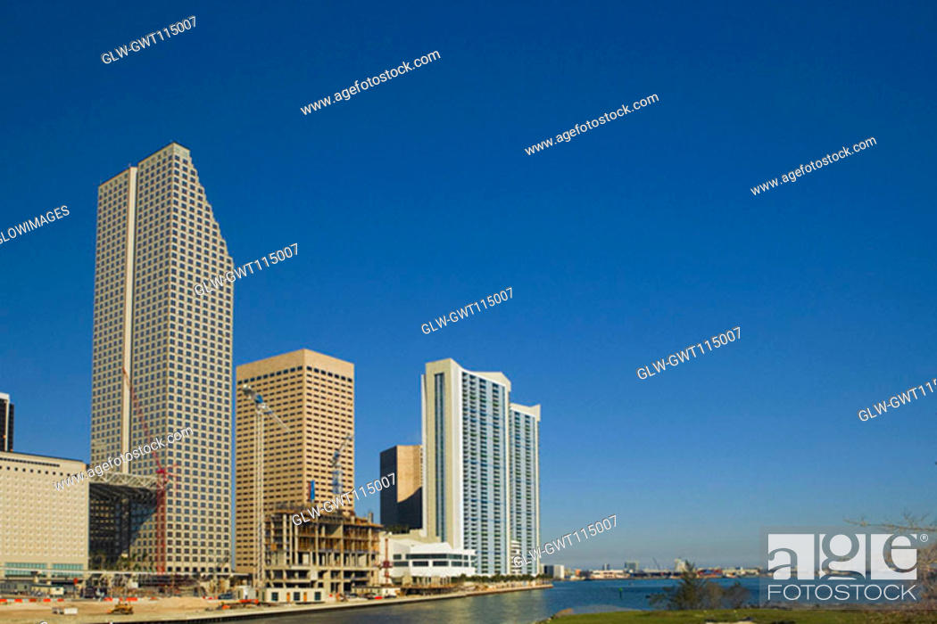 Stock Photo: Low angle view of buildings at the waterfront, Miami, Florida, USA.