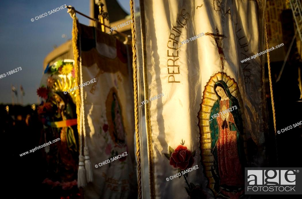 Stock Photo: Images of the Our Lady of Guadalupe outside of the Our Lady of Guadalupe Basilica in Mexico City, December 9, 2012.