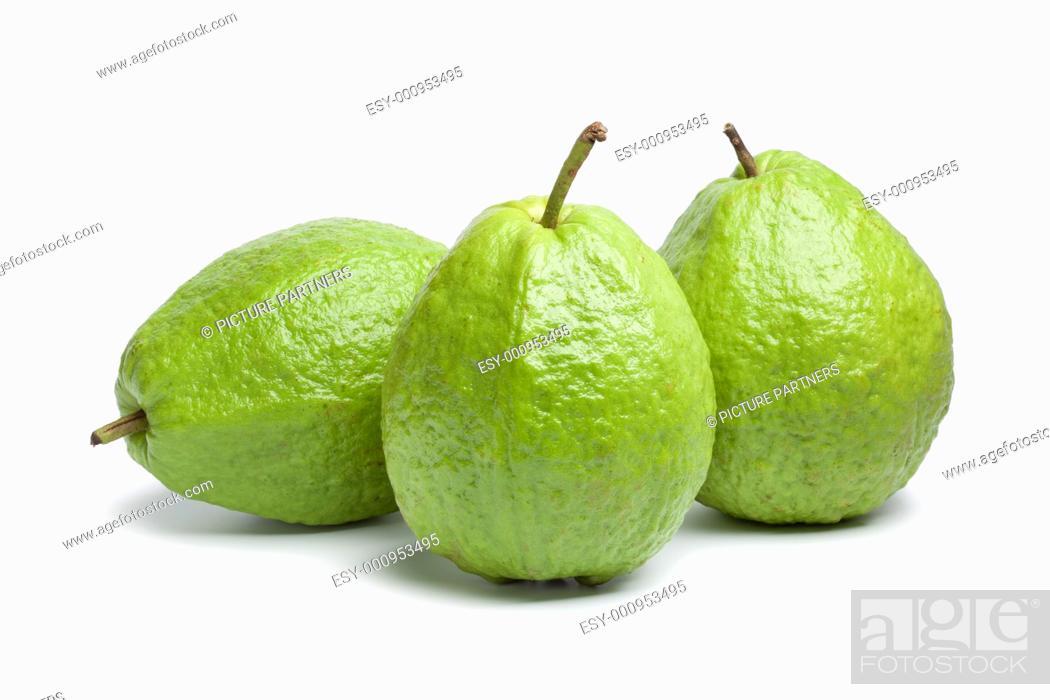 Stock Photo: Whole fresh guava fruit on white background.