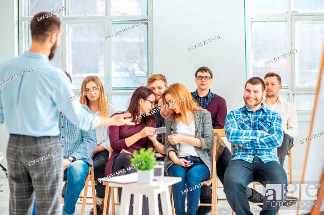 Stock Photo: Speaker at Business Meeting in the conference hall. Business and Entrepreneurship concept.