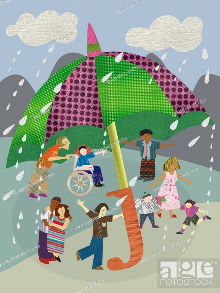 Stock Photo: Children playing under a giant umbrella on a rainy day.