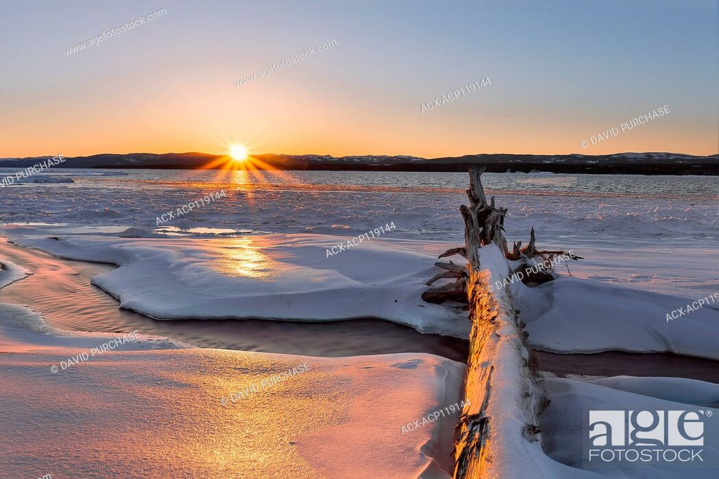 Stock Photo: Sunset over the Hills of the Humber Valley, Deer Lake, Newfoundland and Labrador.