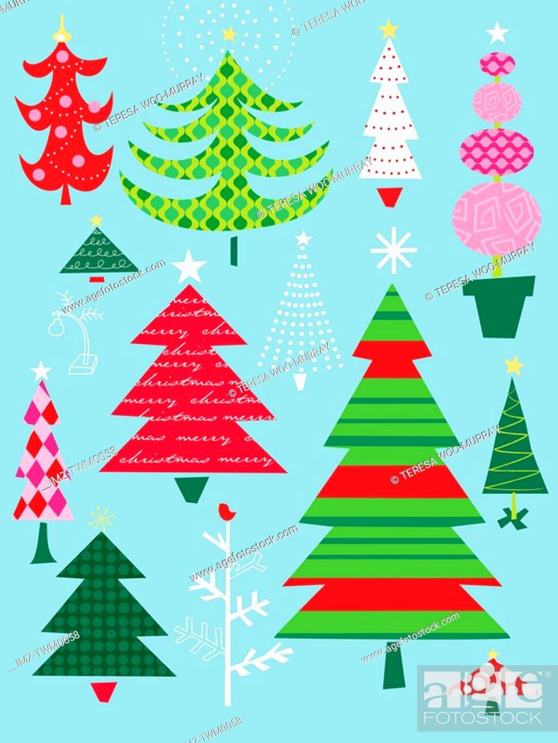 Stock Photo: A canvas of different types, styles and colors of Christmas trees.