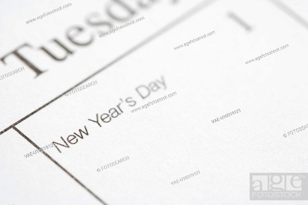 Stock Photo: Close up of calendar displaying New Years Day.