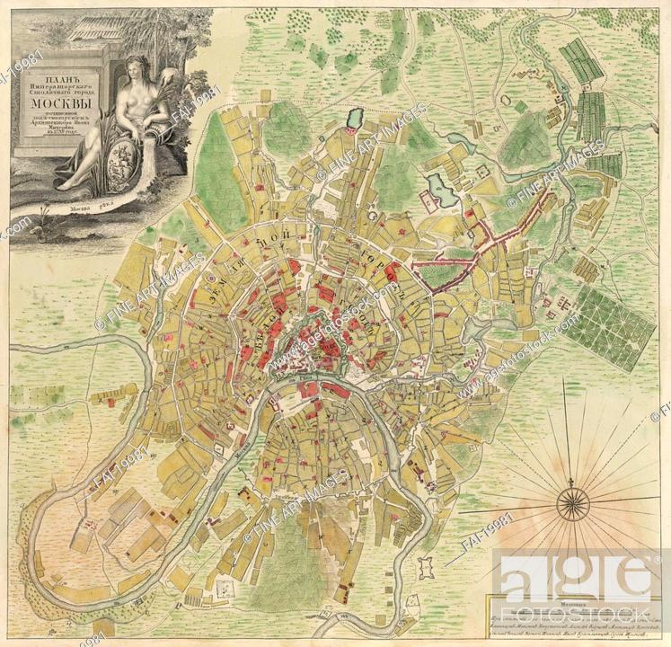 Map Of Moscow Michurin Ivan Fyodorovich 1700 1763 Copper