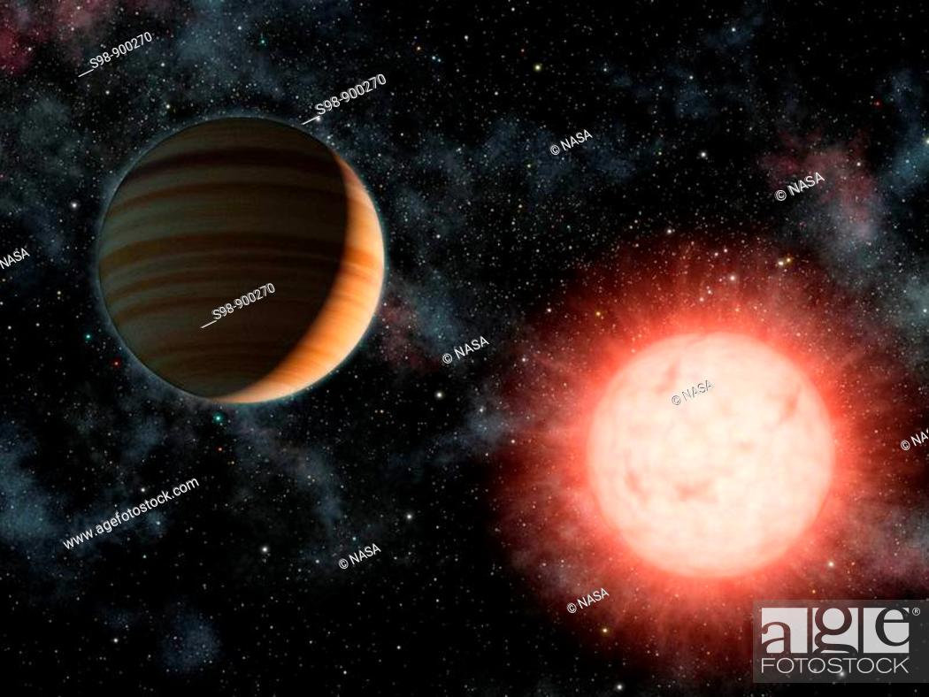 Stock Photo: This artist's concept shows the smallest star known to host a planet  The planet, called VB 10b, was discovered using astrometry.