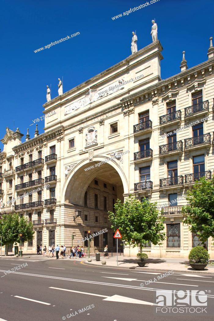 Stock Photo: BANCO SANTANDER BUILDING FROM PEREDA GARDENS PASEO DE PEREDA SANTANDER CANTABRIA SPAIN.