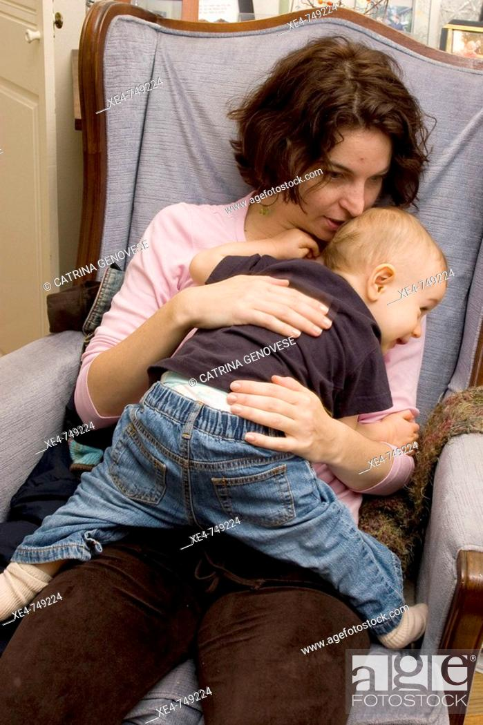 Stock Photo: Mother with 1 year old son.