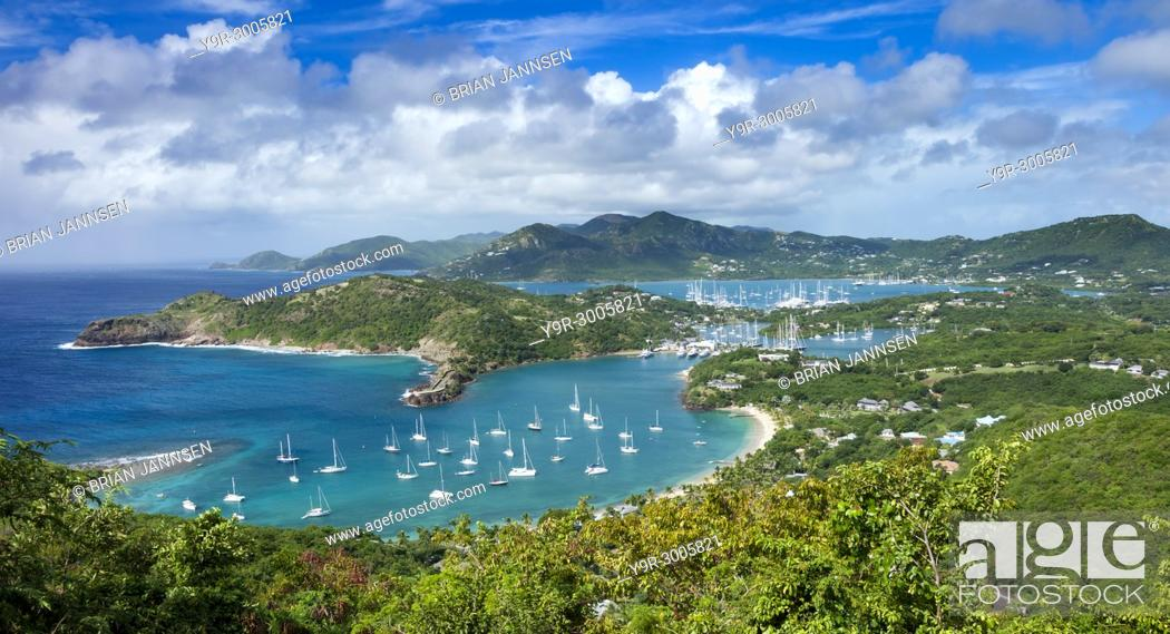 Stock Photo: Lookout view from Shirley Heights over Admiral Nelson's Dockyards, Antigua, Leeward Islands, West Indies.