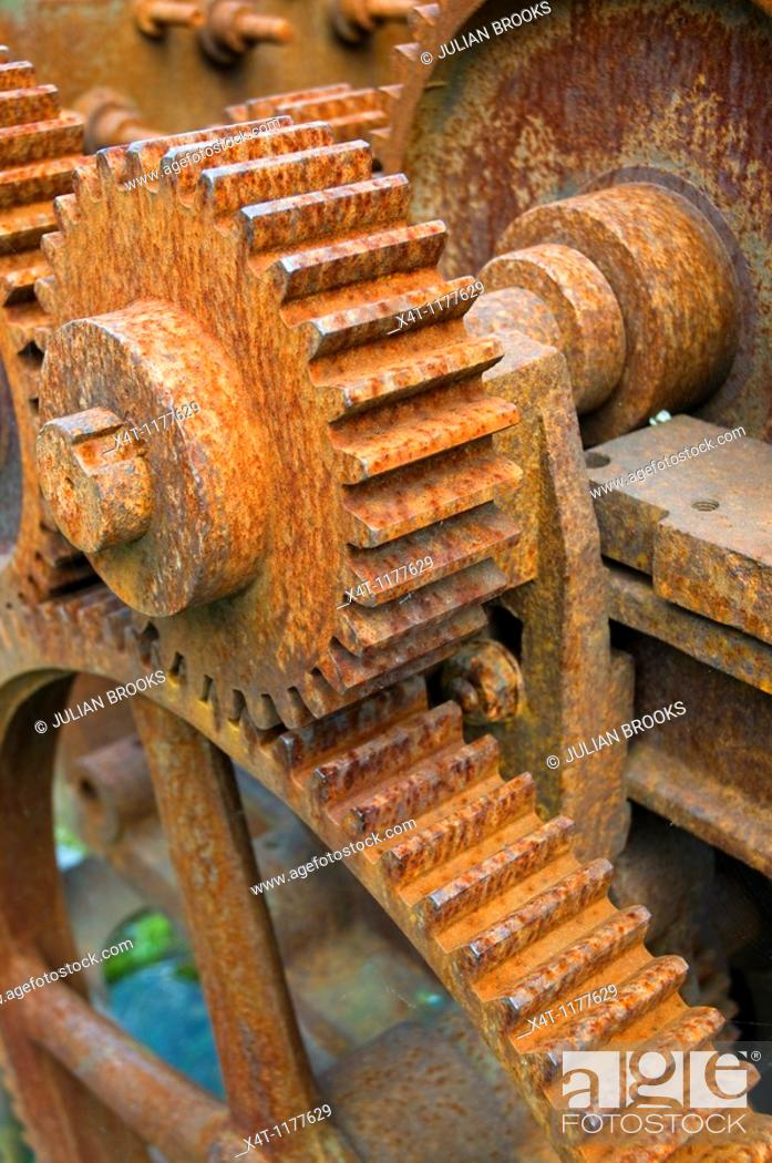 Stock Photo: Rusty machinery with cogs and gears, used for rope making.
