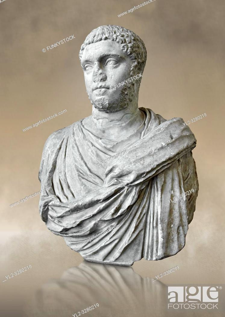 Stock Photo: Roman sculpture bust of Publius Septimius Antoninus Geta better known as Geta brother of Caracalla, made between 209 and 212 AD and excavated from the via XX.