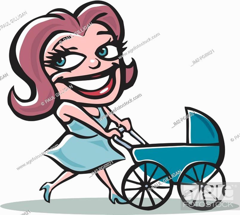 Stock Photo: Mother pushing pram.