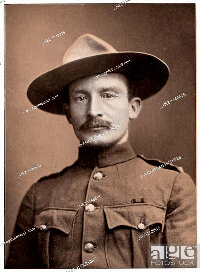 Stock Photo: Robert Stephenson Smyth Baden-Powell, British soldier, c1900. Baden-Powell (1857-1941) won fame during the 2nd Boer War (1899-1902) as the defender of Mafeking.