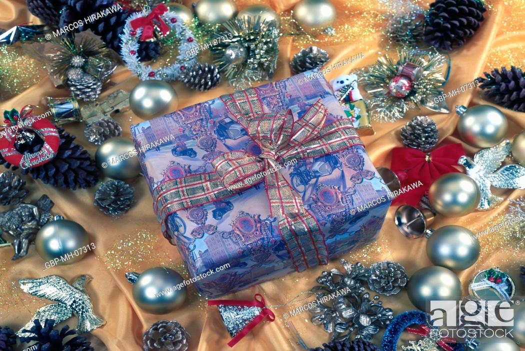 Christmas ornaments, gift boxes, Stock Photo, Picture And