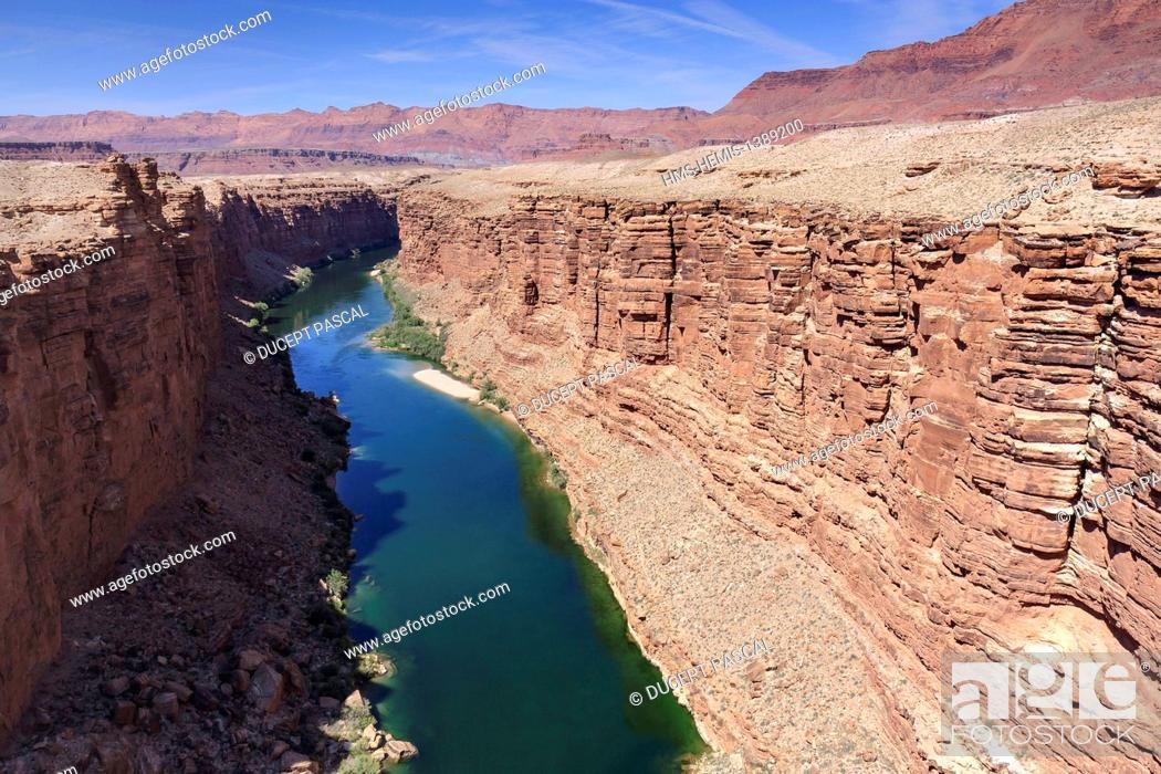 Stock Photo: United States, Arizona, Glen Canyon National Recreation Area near Page, Navajo Bridge, Marble Canyon and the Colorado River seen from Navajo Bridge.