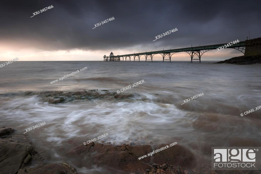 Stock Photo: Clevedon Pier in the Severn Estuary, North Somerset, England.