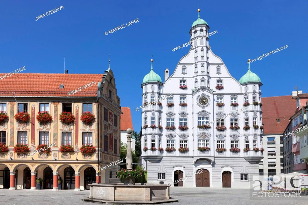 Stock Photo: Town Hall with Steuerhaus and Großzunft at the market square of Memmingen, Unterallgäu, Swabia, Bavaria, Germany.