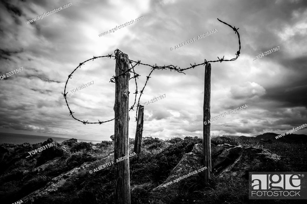 Stock Photo: Barbed wire on the coast of Llanes.Asturias.España.