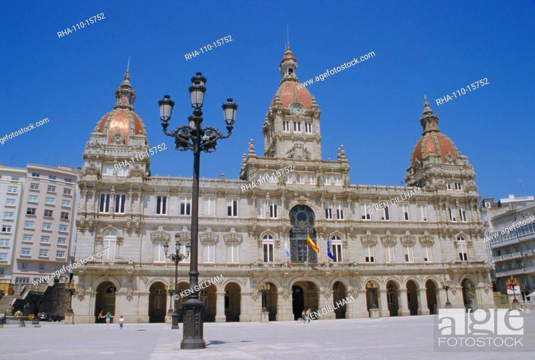 Stock Photo: Town hall, La Coruna, Galicia, Spain, Europe.