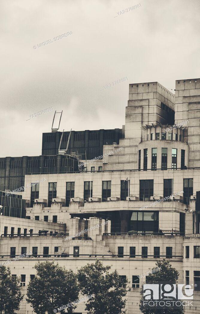 Stock Photo: MI6 Building in London.