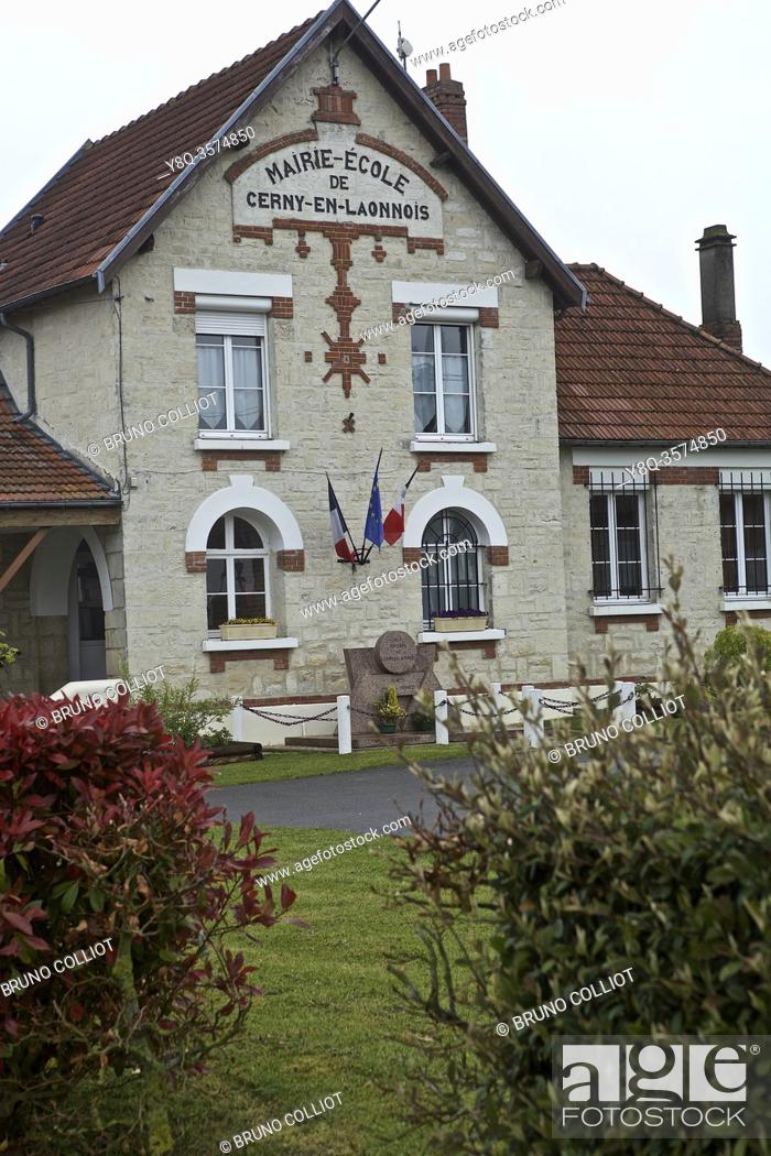 Stock Photo: school town hall in Cerny en Laonnois, Chemin des Dames, France.