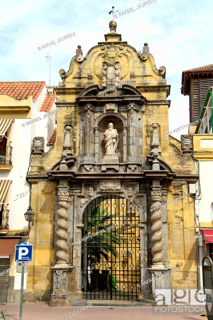 Stock Photo: Entrance gate to the Church of St Paul in the old town of Córdoba, Andalusia, Spain.