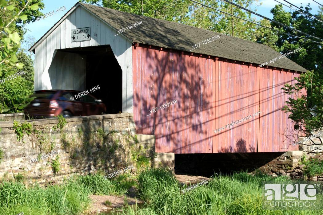 Stock Photo: Covered bridge in Bucks County, Pennsylvania.