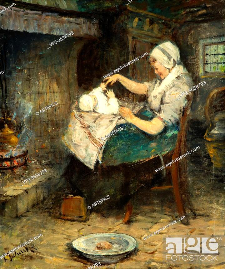 Stock Photo: Dierckx Pierre Jacques - Moeder Met Kindje Bij De Haard - Belgian School - 19th Century.