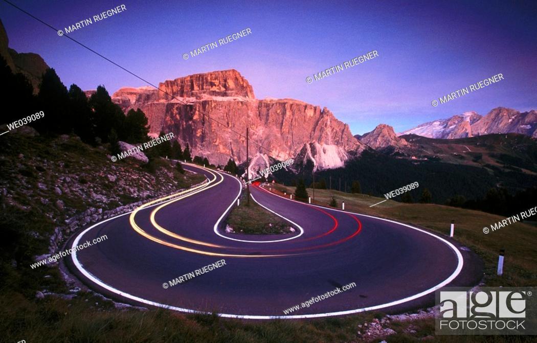 Stock Photo: Sella Pass. Mountain road. Trentino. Alto Adige. Dolomites. Italy.
