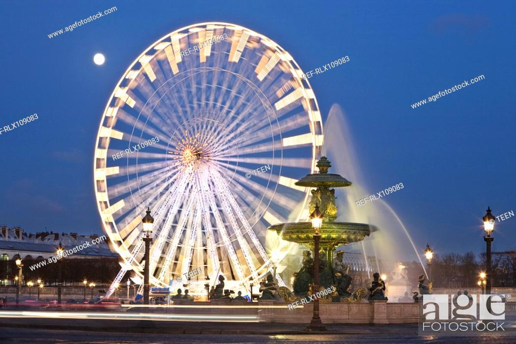 Stock Photo: Ferris wheel and fountain on the Place de la Concorde, Paris, France.