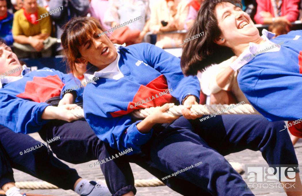 Stock Photo: Basque rural sport. San Fermin. Pamplona. Spain.