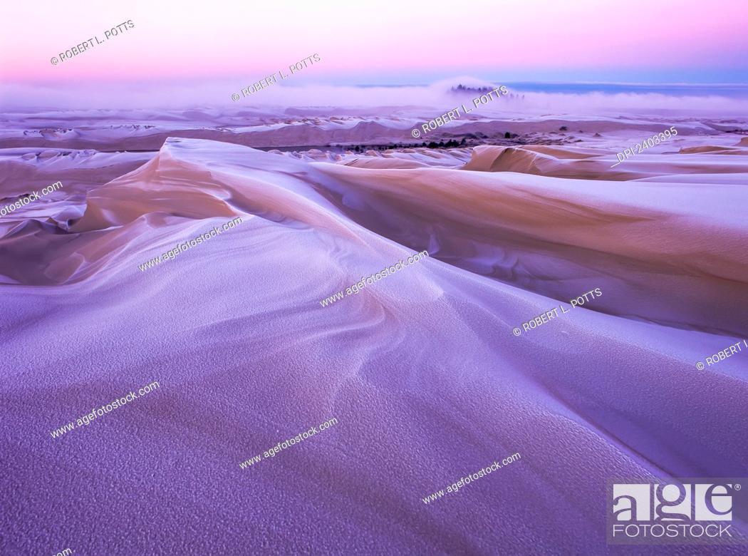 Stock Photo: Winter carves and decorates the Umpqua Dunes, Oregon Dunes National Recreation Area; Lakeside, Oregon, United States of America.