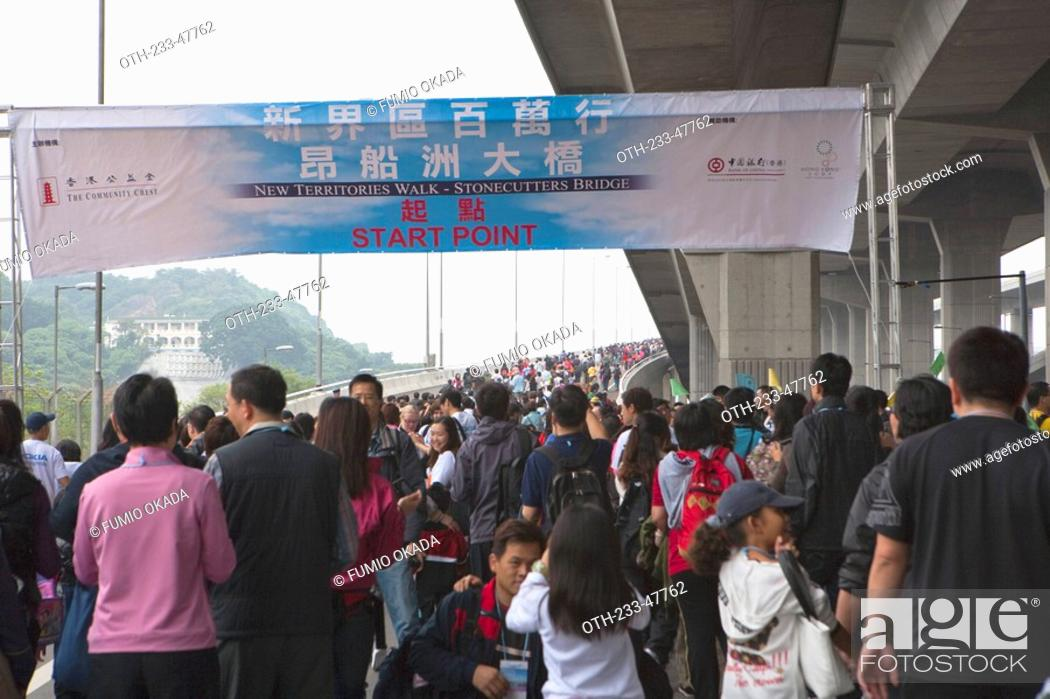 Stock Photo: Charity walk on Stonecutters Bridge, New Territories, Hong Kong.