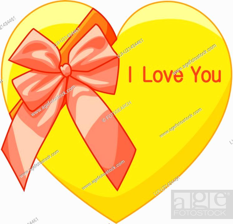 Stock Photo: present box, love, object, heart, gift, event.
