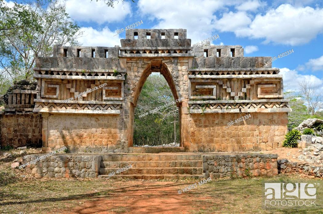Stock Photo: El Arco, back, historical Mayan city Labna, Yucatan State, Mexico.
