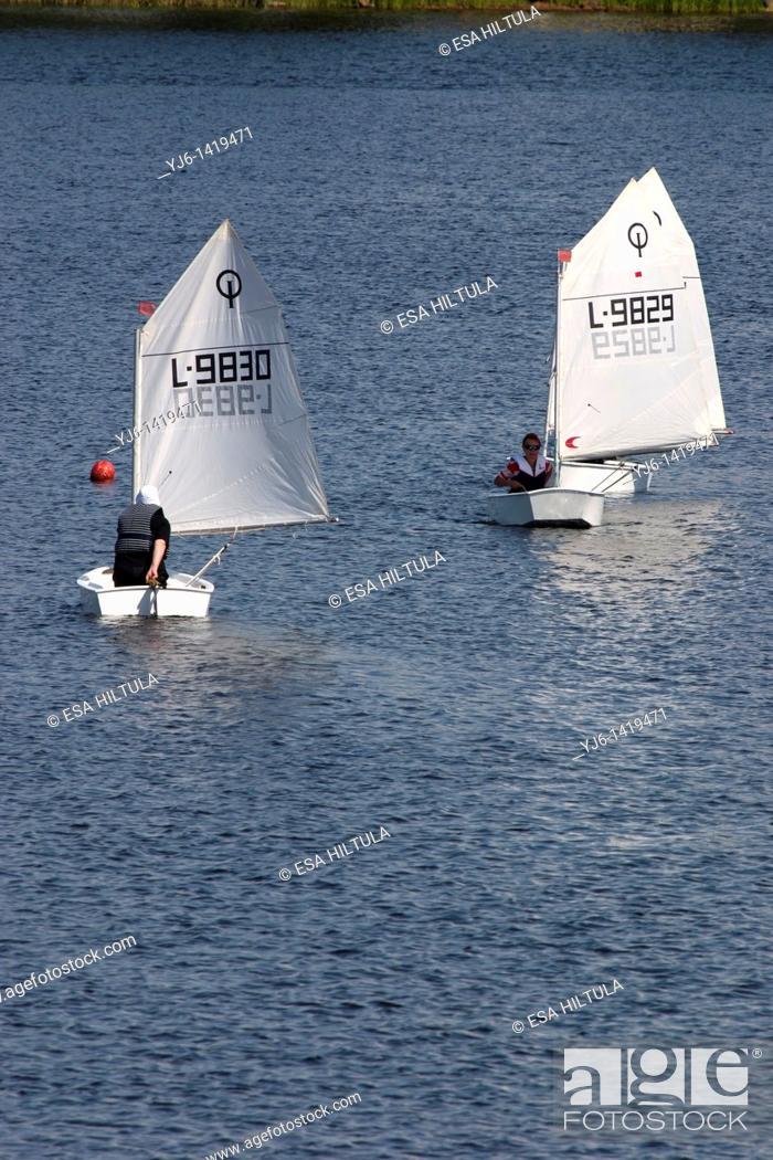 Stock Photo: optimist sailing dinghies.