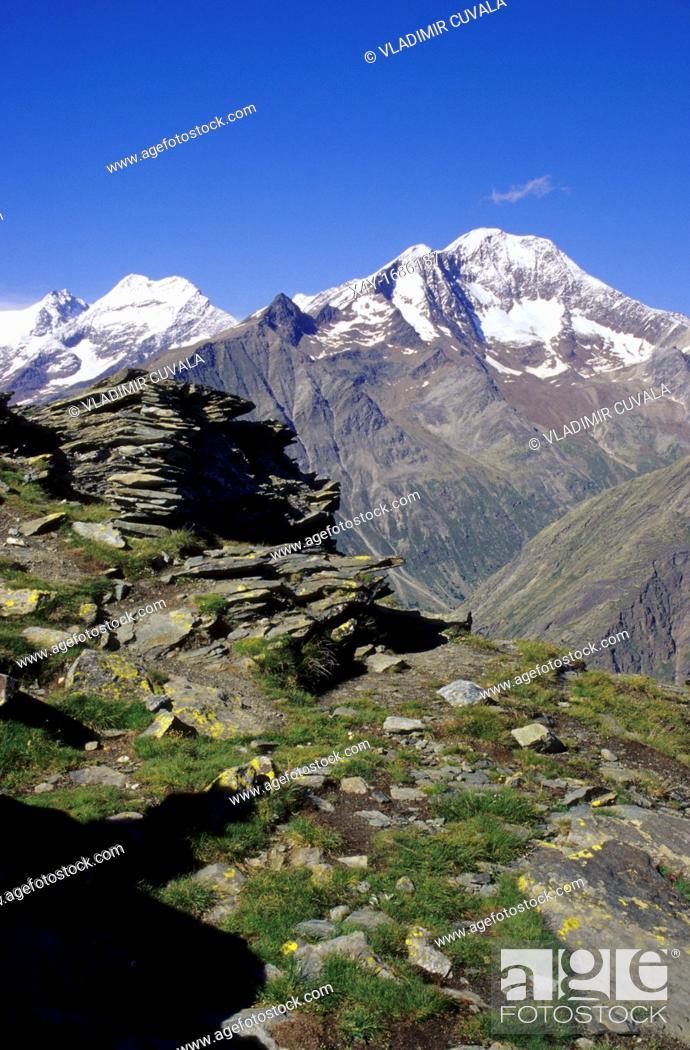 Stock Photo: View of the Lagginhorn and Weissmies in Saas valley, Wallis Alps, Switzerland.