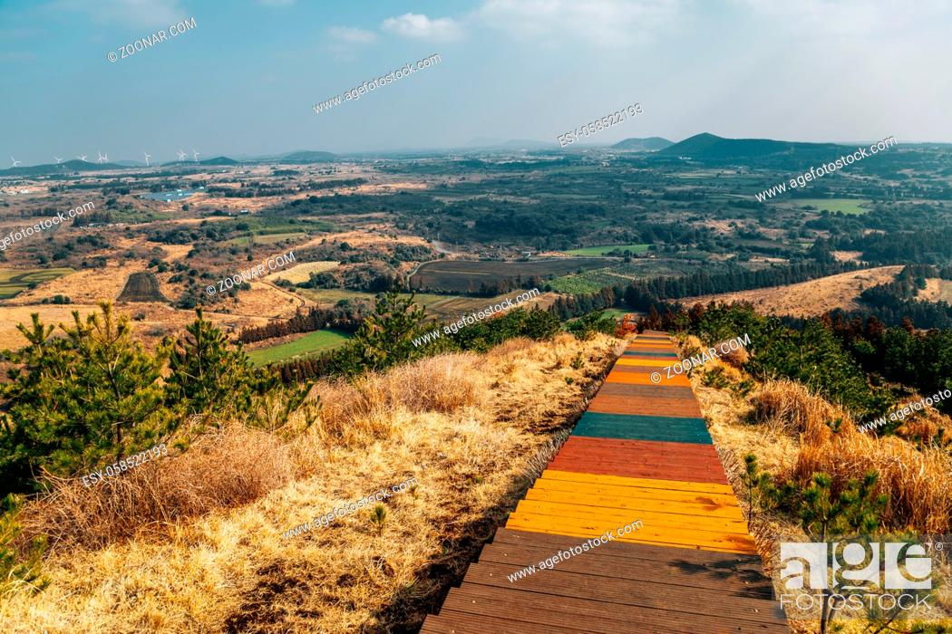 Stock Photo: Oreum volcanic cone and autumn nature scenery from Yeongju Mountain trail road in Jeju Island, Korea.