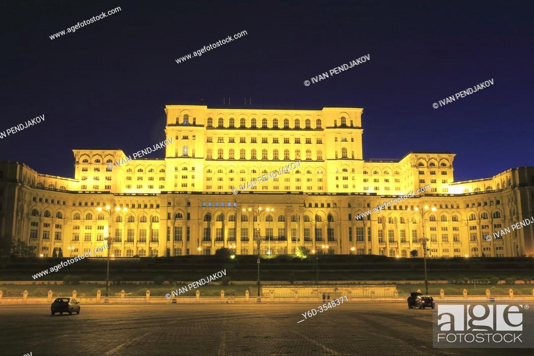 Stock Photo: Palace of the Parliament at Night, Bucharest, Romania.