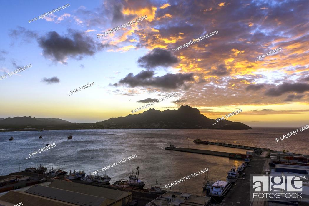 Stock Photo: Sunset on Monte Cara and Porto Grande Bay seen from Fortim del Rei, Mindelo, Sao Vicente, Cape Verde Islands, Africa.