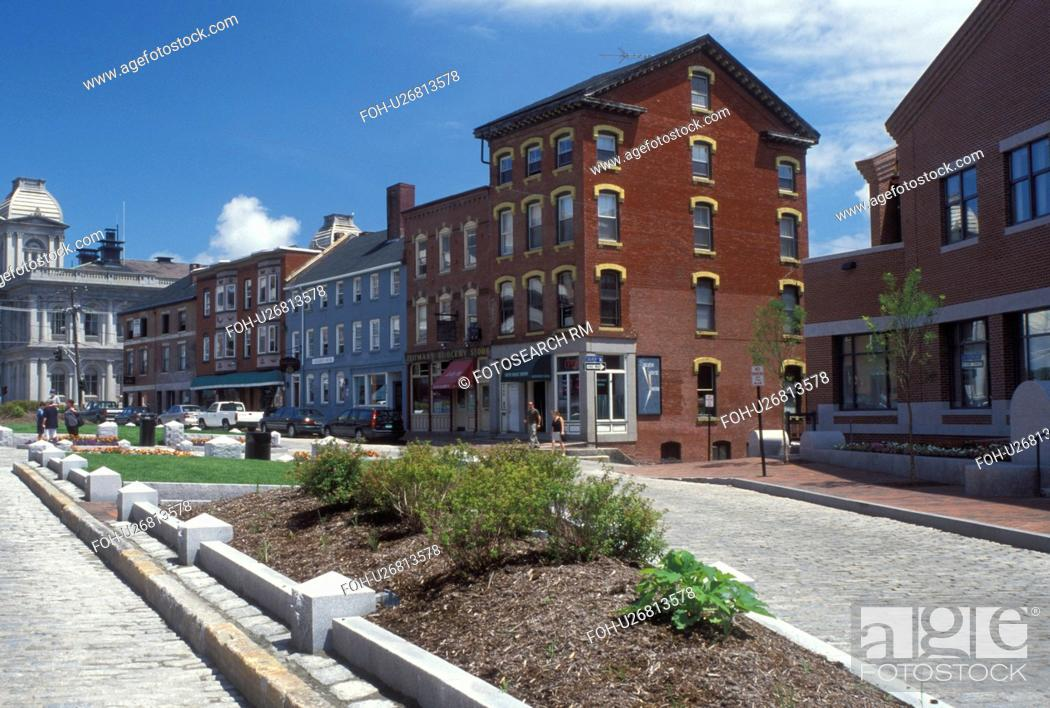 Stock Photo: Portland, ME, Maine, Buildings along Fore Street a cobbled street in downtown Portland.