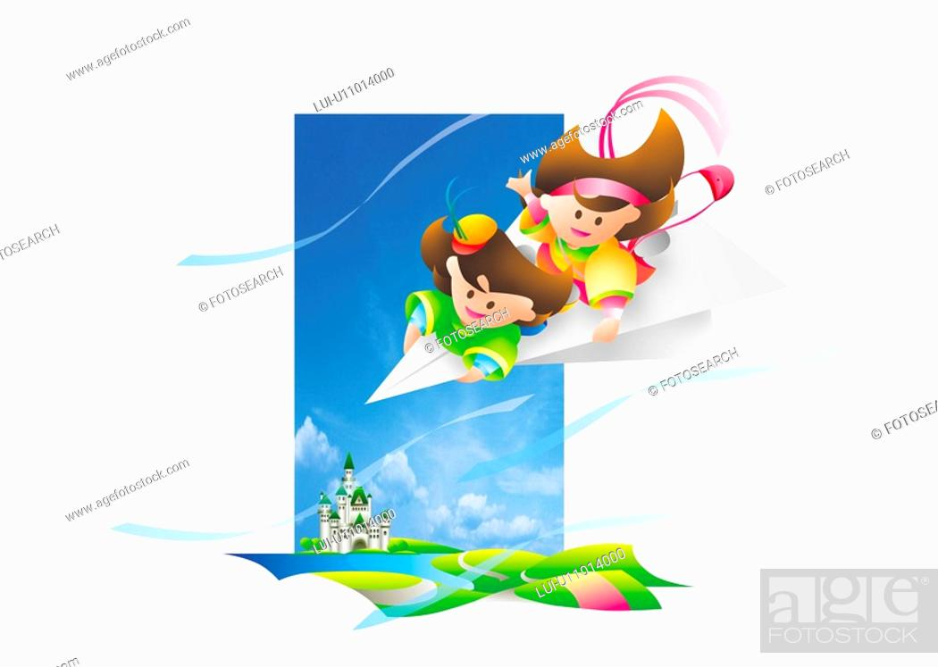 Stock Photo: Girls On Paper Airplane.