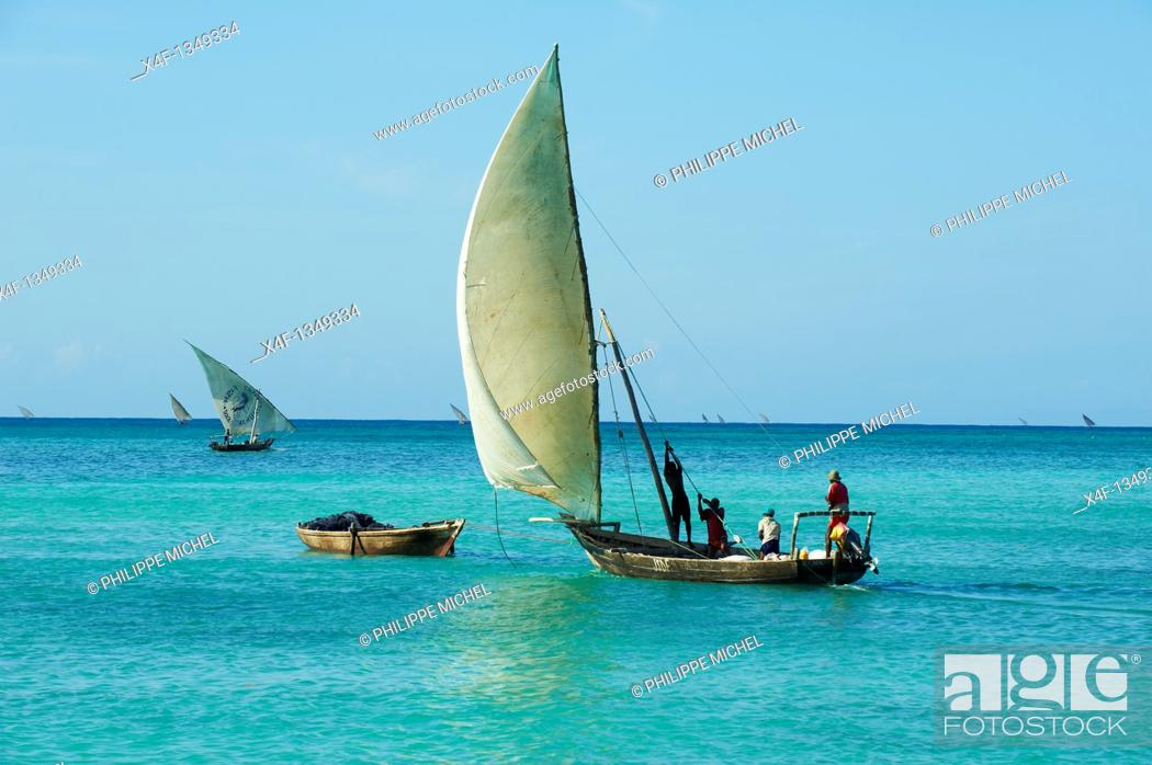 Stock Photo: Tanzania, Zanzibar island, Unguja, fishing boat at Nungwi.