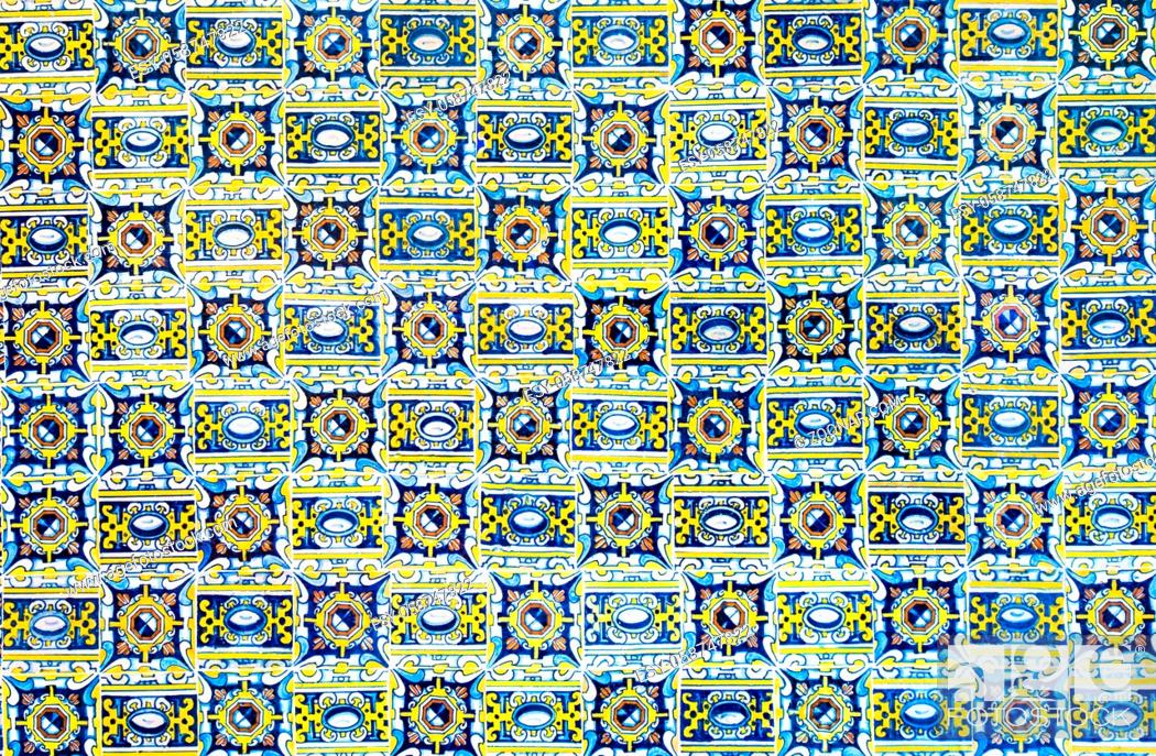 Stock Photo: vintage ceramic tiles background, perfect colorful pattern.
