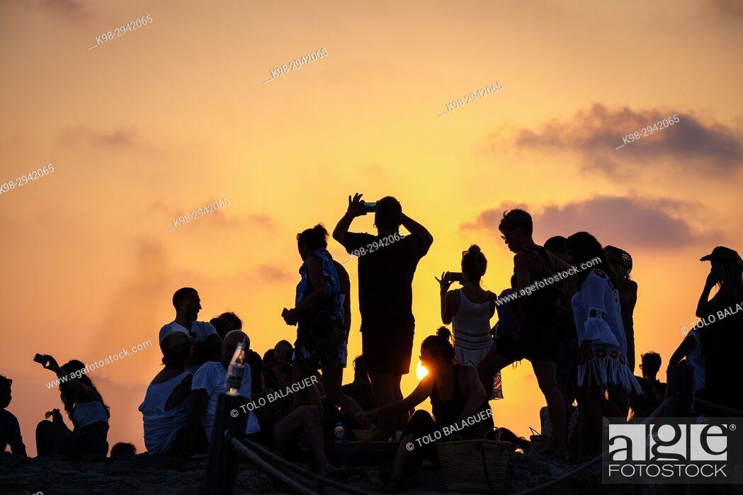 Stock Photo: Sunset, El Pirata Bus, Playa de Migjorn, Formentera, Balearic Islands, Spain.